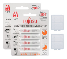 8 Pilhas Aa Recarregáveis 2100x Fujitsu Eneloop Standard