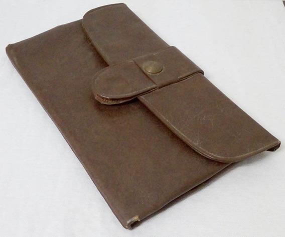 Porta Documentos De Auto De Cuero Antiguo Vintage