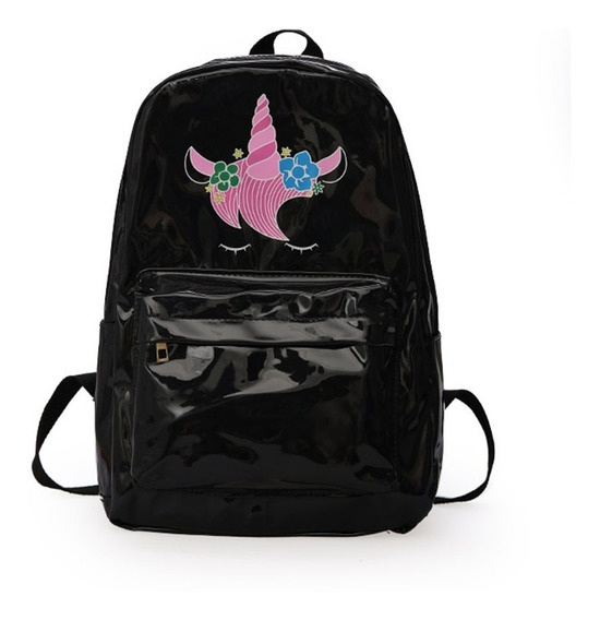 Mochila Escolar Holografica Unicornio City Rock