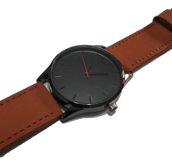 Relógio Masculino De Couro Caramelo/preto(camurça) C/ Box