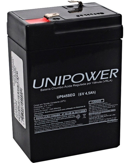 Bateria Estacionária Selada 6v 4.5ah Up645seg Unipower