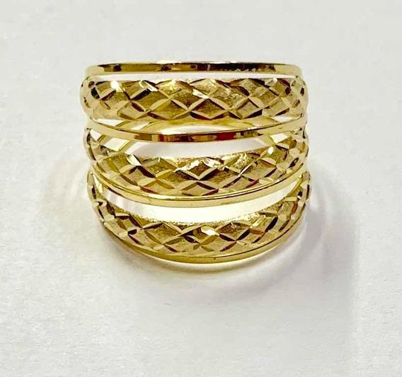 Anel Feminino Triplo Amarelo Ouro 18k 750