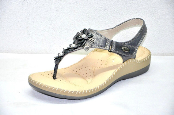 Ojota Sandalia Mujer Confort Gris Cocida Moda Lady Stork