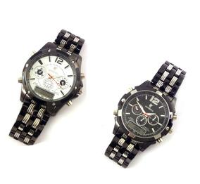 Relógio De Pulso Potenzia Preto E Branco Metal Masculino
