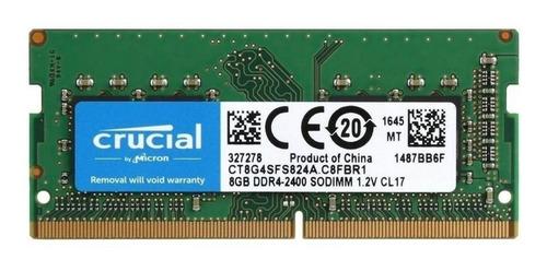 Imagen 1 de 1 de Memoria RAM color Verde  8GB 1x8GB Crucial CT8G4SFS824A