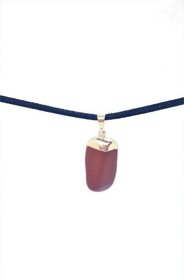 Pingente Jaspe Vermelho Pedra Natural Cordão De Couro