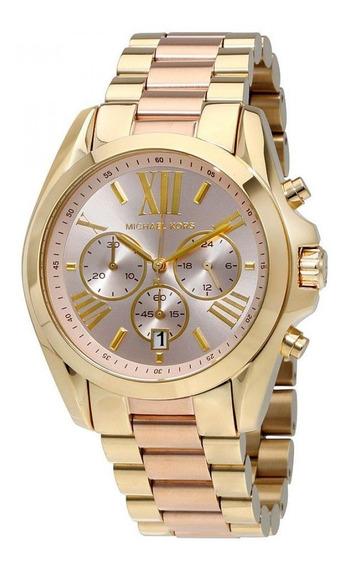 Relógio Michael Kors Original Mk6359 Verão Dourado E Rosa