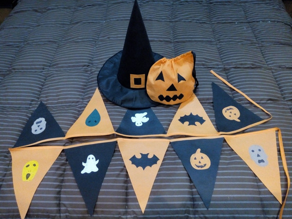 Disfraz Halloween!!! Combo: Banderin + Sombrero + Bolsita