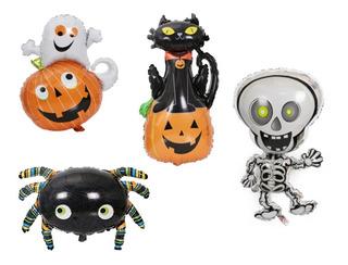 10 Globos 35 Cm Fantasma Halloween Araña Esqueleto Calabaza