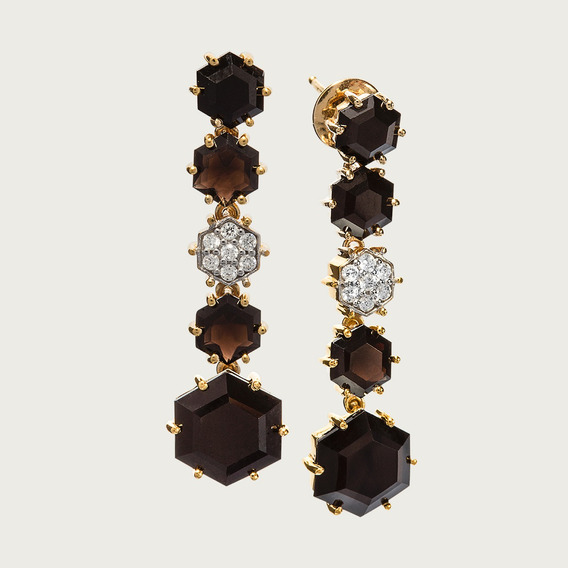 Brinco Em Ouro 18k Com Quartzos E Diamantes - Linha Bella