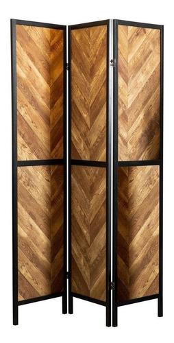 Imagen 1 de 4 de Biombo De Madera De Tres Paneles, Paneles De Madera Natural