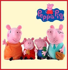 Peppa Pig Kit 4 Bonecos De Pelúcia Original + Brinde