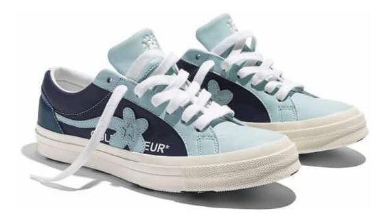 Converse Ox Golf Le Fleur Cuero Azul Celeste Blanco Ed Limit
