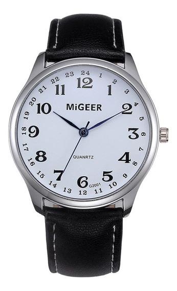 Reloj Casual Cuarzo Marca Migeer Modelo G2001 Blanco Negro