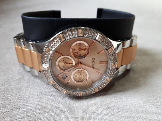Relógio Original Donna Karan Dkny Prata E Dourado Com Pedras