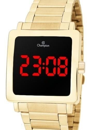 Relógio Champion Lançamento Digital Dourado Quadrado Cx Nf.