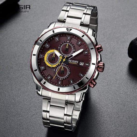 Relógio Quartzo De Luxo Megir De Aço Inoxidável Masculino