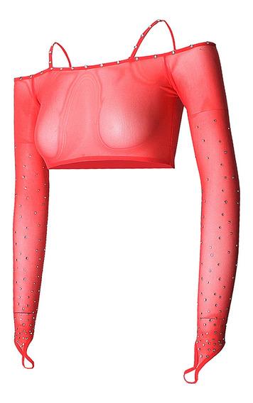 Mujeres Malla Rhinestone Danza Del Vientre Top Body Stretch