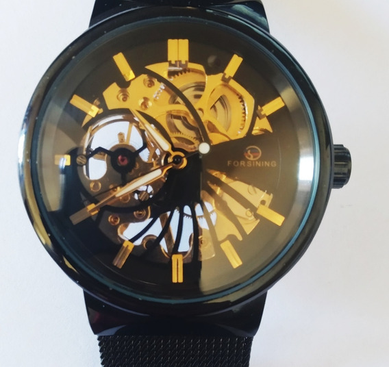 Relógio Forsining Esqueletum Preto
