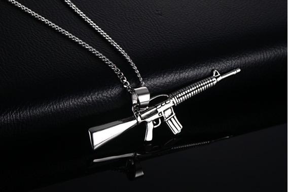Cadena Collar Acero Inoxidable Dije Rifle Ar-15 Valbar