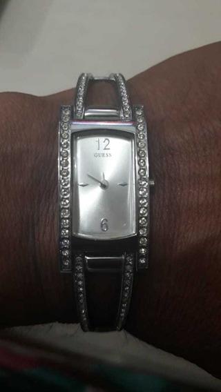 Relógio Original Guess Bracelete Prata Visor Prata Cristais
