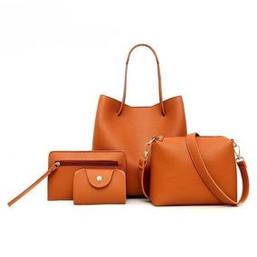 Bolsas Feminina 4 Peças Bolsa Pequena+carteira+porta Cartão