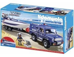 Brinquedos Menino Carro Polícia Barco Lancha Playmobil 5187