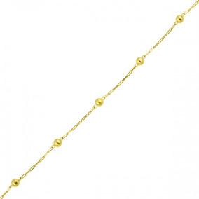 Pulseira De Ouro 18k Com Bolinhas Infantil 15cm Pu00470