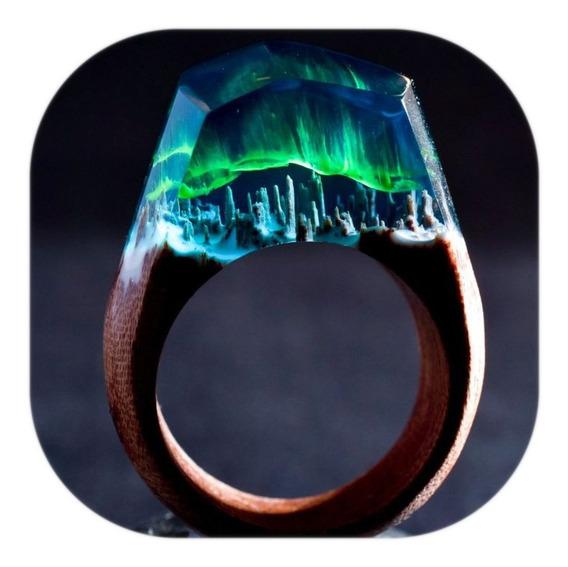 Anillo Resina / Bosque Cristalizado Aurora Boreal