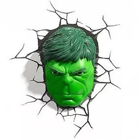 Marvel Luminária 3d Light Fx Rosto Do Hulk