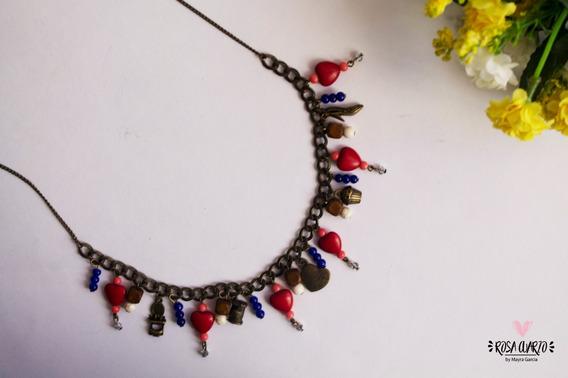 Collar Dijes Colgantes, Corazones Piedra Turquesina