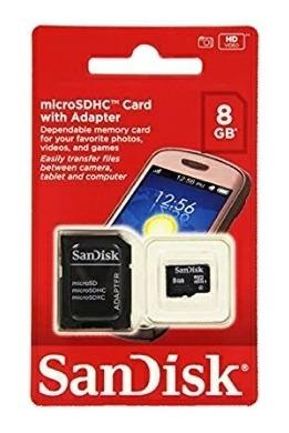 Cartão Micro Sd Sandisk Com Adaptador 8gb
