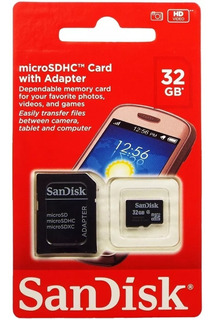 Cartão De Memória Sandisk 32gb Micro Sd Com Adaptador Sd