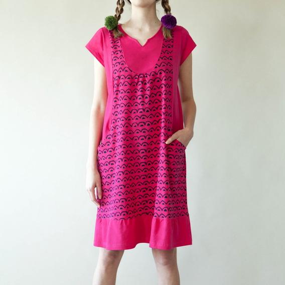 Vestido Estampado Fuxia Diseño Ondulado 100% Algodón