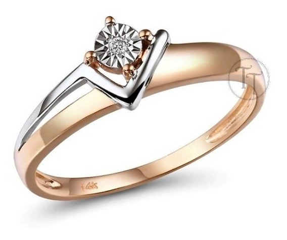 Anillo Oro Rosa 14k 2 Tonos V Diamante 0.018 Ct