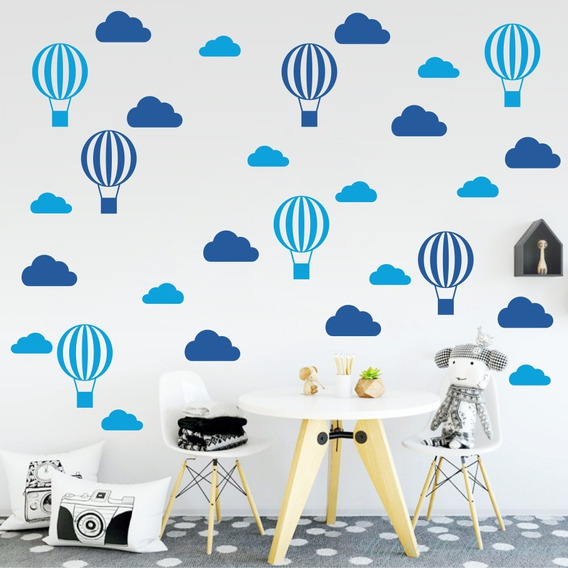 Adesivo De Parede Nuvens E Balões Quarto Bebê Infantil Azul