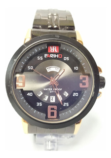 Reloj Bariho Elegante Casual Grande Acero Negro Detall