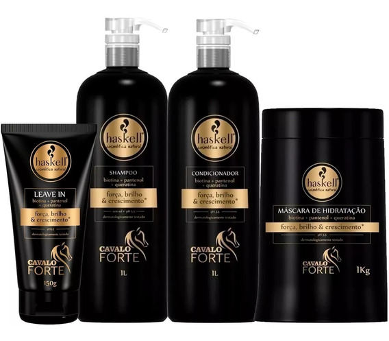Kit Haskell Cavalo Forte Shampoo Cond Másc 1kg Leave-in