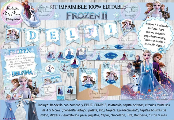 Kit Imprimible Candy Bar Frozen 2 Celeste 100% Editable
