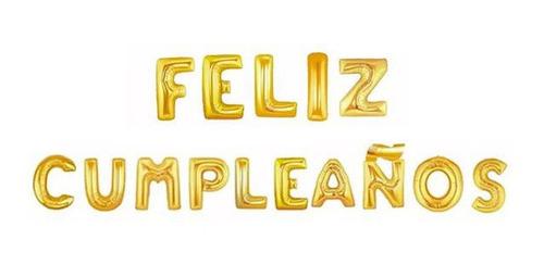 Imagen 1 de 2 de Globo Metálico Letras 46 Cm Feliz Cumpleaños Dorado+regalo