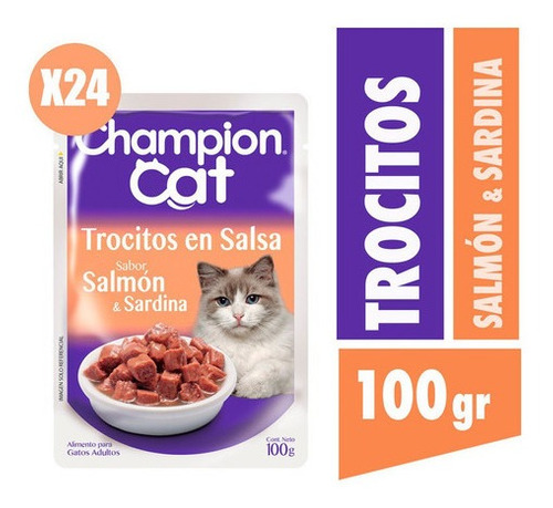 Champion Cat Trocitos En Salsa Sabor Salmon  24x100g