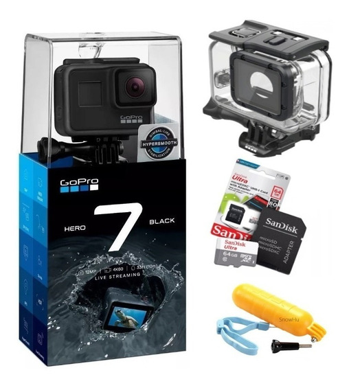 Gopro Hero7 Black+ultra 64gb+caixa Estanque+bastão Flutuante
