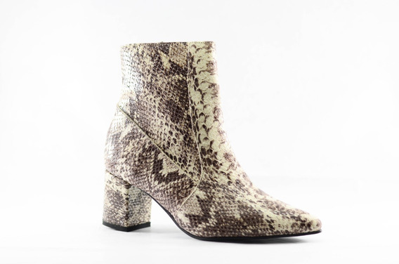 Zapato Botineta Bota Cuero Mujer Taco Punta Fina