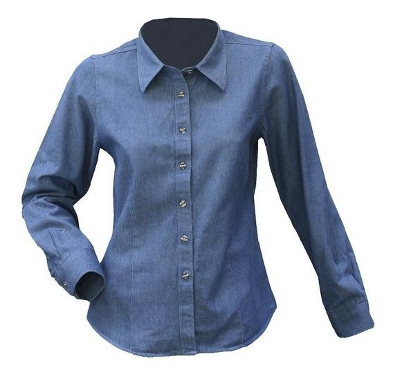 Blusa Jeans 100% Algodón Prelavado Mujer Manga Larga