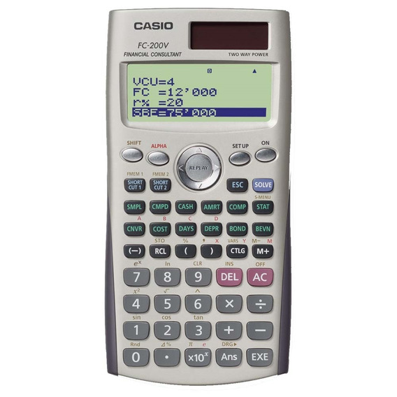 Calculadora Financeira Casio Digital Fc-200v - Cinza