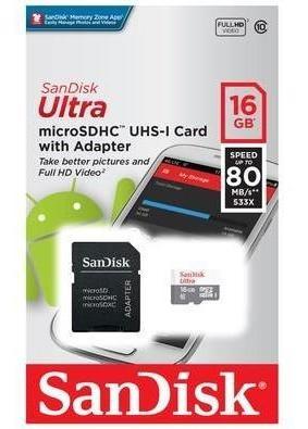 Cartao De Memoria Microsd 16gb Classe 10 C/ 1 Adapt Sandisk