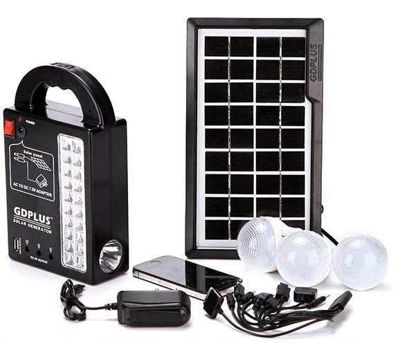 Kit Placa Solar Com Bateria 3 Lâmpadas Led Lanterna