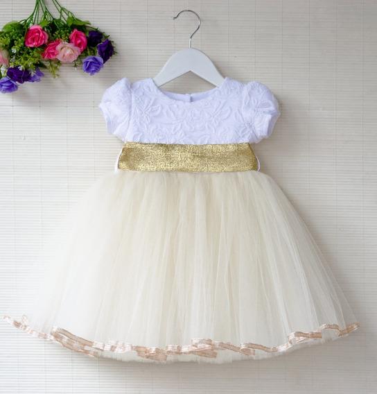 Vestido Fiesta Nena Modelo Mia Dorado