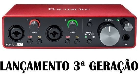 Focusrite - 3 Geração - Interface De Audio - Scarlett 2i2