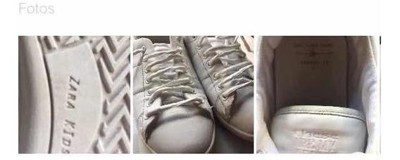 Zara Niñas Zapatillas Cuero Blancas Nro 32